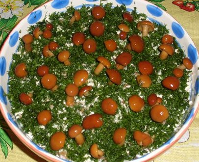 Салат грибная полянка рецепт с опятами и корейской